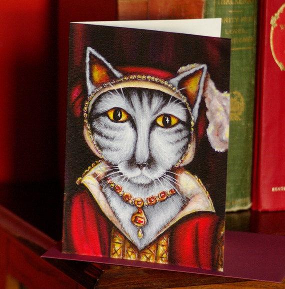 Tudor Cat Card, Catherine Parr Silver Tabby Cat 5x7 Greeting Card