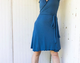 West Coast Wrap Dress - Organic Fabric - Made to Order - Choose Your Color - Eco Fashion