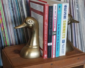 Mid Century Brass Duck Head Bookends