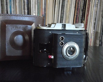 Mid Century Ansco Clipper Flash Camera with Leather Case