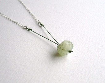 Facet - a Minimal Gemstone Necklace. Prehnite and Sterling Silver. Simple Nugget Necklace by Kirsty O'Donnell