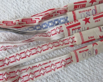 Batch of 5 Vintage French Embroidered Tapes, 1920s Vintage Ribbon Passimenterie Trim, Vintage Sewing Costume, Vintage haberdashery