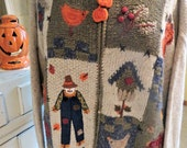 Vintage Novelty Fall Harvest Sweater - Scarecrow - Fall Leaves - Bird Houses - Front Zip Cardigan - Back to School - Halloween Sweater