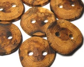 Handmade Wooden Tree Branch Buttons, Natural Wood Buttons, Spalted Oak Wood, Set of 10, 1 1/2 Inches