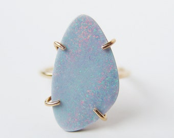 ON SALE Blue Opal Gold Ring OOAK