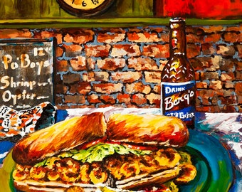Po'Boy, Fried Shrimp PoBoy, Barq's Root Beer, Zapps Potato Chips with a Jax Beer Clock, New Orleans Louisiana Food Art - 'Po'Boy Time'