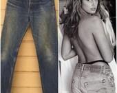 Levi's 501 Boyfriend Jeans Student 701 Vintage 70s Levis denim, 28 X 29 Custom cropped Denim Medium dark wash indigo Levi Distressed Haute