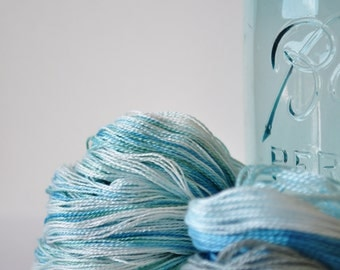 Aquamarine - SET of 2 Skeins of Hand Dyed Perle Cotton Thread Size 5 & 12 - Wool Embroidery - Sashiko Thread - Hand Quilting - Pearl Cotton