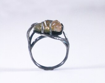 "Grossular Garnet ""root system"" ring…sterling silver - size 8.25"
