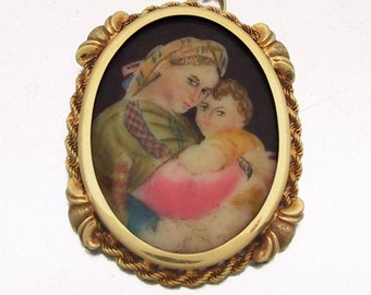 Antique Hand Painted Madonna della Seggiola Pendant 1880 Miniature Painted Portrait of Mother and Child Necklace Pendant