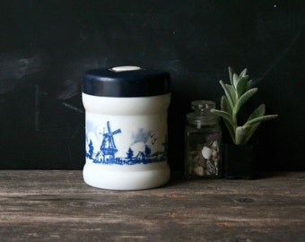 Vintage Blue and White Milk Glass Jar With Lid From Holland With Ships Windmills Food Storage Vintage From Nowvintage on Etsy