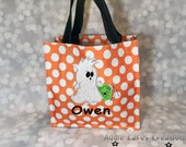 Personalized Halloween Candy Tote Bag with Mohawk Boy Ghost Design / 3 Bag Print Choices