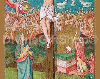 """Icon The Crucifixion The Mass & Purgatory 5"""" X 7"""" Print. Beautiful Icon Image of The Crucifixion The Mass and Freeing Souls from Purgatory"""