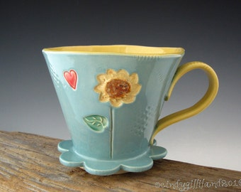 Pottery Pour Over in Vintage Turquoise with Sunflower Design - Drip Coffee Maker - Large Pour Over - by DirtKicker Pottery