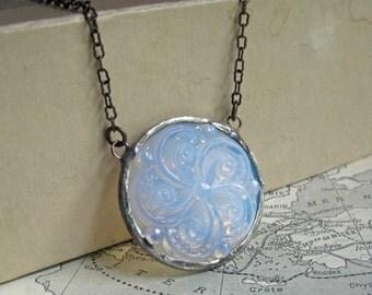 Glass Medallion Bib Necklace Stained Glass Jewelry