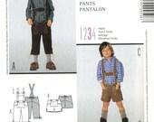 Burda 9508 UNCUT Toddler and Boys Lederhosen Shorts and Knee Length Pants Costume Sewing Pattern Size 4-10