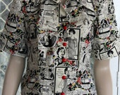 1950's Vintage Reproduction Blouse . Black and white sewing.