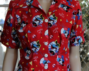 reduced / sale price / 1950's style / blouse / mickey mouse / vintage pattern / OOAK / cotton / classic / pinup / designer /retro / handmade