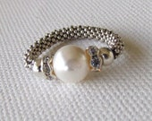 Sale-White Pearl Swarovski Stretch Ring-SPECIAL FREE SHIPPING