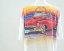 57 T-BIRD Red Ford Thunderbird AIrbushed Tee 80s does 50s Classic Car Tee 1957 COnvertible AUtomobile T-Shirt Rainbow Colors Sunset sale