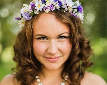 Lavender bridal Flower crown Dried Floral hair wreath AmoreBride Goddess spring headpiece winter wedding accessories halo bridal party