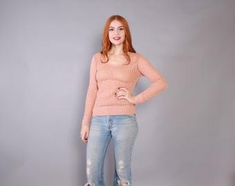 Vintage 70s SWEATER / 1970s Metallic Open Weave Dusty Pink Crochet Pullover Knit Sweater TEE xs-s