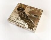 Vintage California Makeup Compact Souvenir Gold Tone Metal