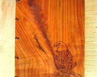 Wood Burned Eagle Journal or Sketchbook,Rustic Wood Journal,Nature Journal