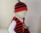 Baby Stripe Dungarees and Beanie Knitting Pattern by madmonkeyknits - instant digital file pdf download knitting pattern