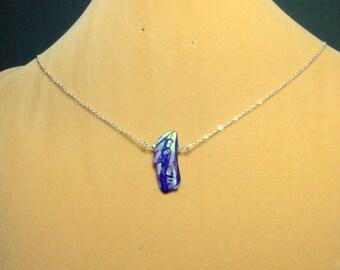 SALE   Single Blue Stick Pearl on a Sterling Silver Chain Necklace  / Single Pearl Necklace / Stick pearl Necklace / Pearl necklace /