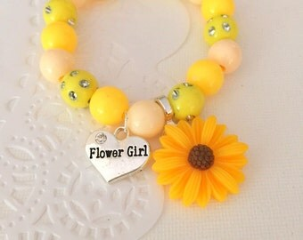 Sunflower, wedding, flower girl, LARGE sunflower, bracelet, stretchy, beaded, jewelry.