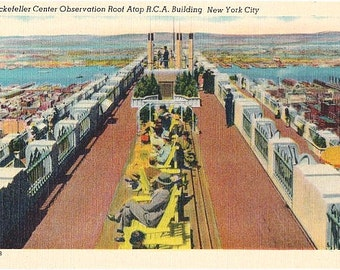 Vintage New York City Postcard - Relaxing on the Observation Deck atop the RCA Building in Rockefeller Center (Unused)