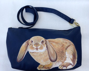 Vegan blue boho bag with handpainted lop eared rabbit - one of a kind, upcycled Steve Madden
