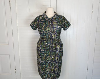Plus Size Vintage Dress- 40s / 50s Wiggle Dress- Rayon- Jewel Tones- Teal Green & Gold