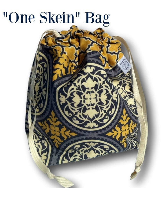 "Scrollwork - ""One Skein"" Project Bag for Knitting, Crochet or Embroidery"