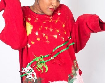 Vintage Sweater // Rudolph Reindeer Jingle Bells Diy Knit Tacky Jumper // UGLY CHRISTMAS SWEATER (sz L/xL)