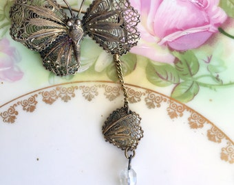 Antique Filigree Sterling Butterfly Brooch with falling Wing Dangle Beads