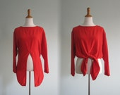RESERVED Vintage Red Silk Blouse with Tie Front - Chic 80s Silk Top by Kikit - Vintage 1980s Blouse S M
