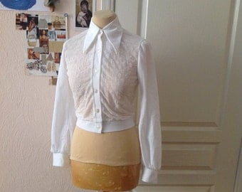 Vintage Crop Top White Blouse Blazer Sheer XS S XSmall Small