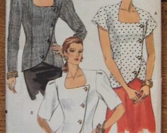 vintage 1990 vogue pattern 7784 misses loose fitting top sz 12-14-16 uncut sleeve variations