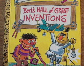 Vintage 70s little golden book Bert's Hall of Great Inventions Sesame Street Bert and Ernie children picture book