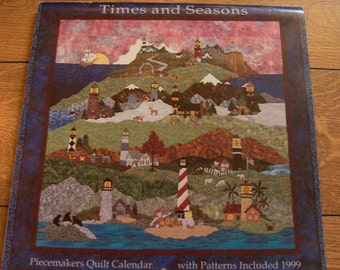 "1999 Time and seasons piecemakers quilt calendar LIGHTHOUSES From Sea to Shining Sea cover quilt  79"" x 79"" new uncut"