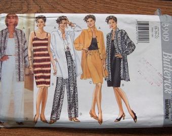 vintage 80s butterick pattern 3909 misses shirt dress top skirt pants sz 18-20-22 uncut