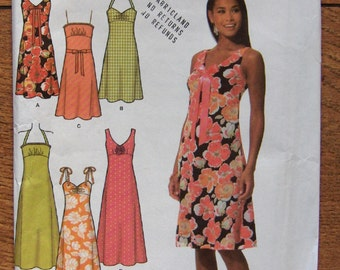 2005 simplicity pattern 4630 misses dress in 2 lengths bodice variations sleeveless summer sz 6-8-10-12 uncut