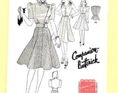 1940s Hooded Jacket Dress Butterick 8944 Eight Gored Skirt Vintage Sewing Pattern Bust 32