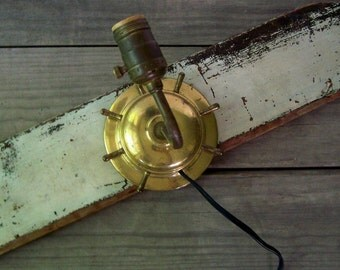 Vintage Nautical Lamp ~ Brass Wall Lamp ~ Ship's Wheel