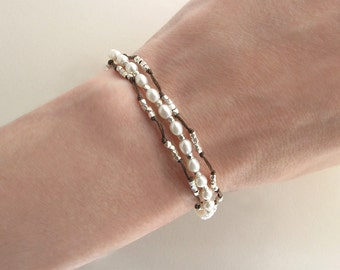 Pearl Bracelet: 3 Strand Knotted White Pearls with Tiny Nugget Beads, Adjustable size bracelet in Silver or Gold