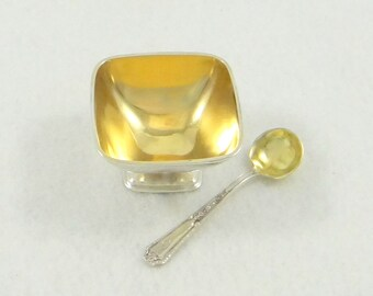 Sterling Silver Gold Wash Salt Cellar and Spoon by Towle from 1920s
