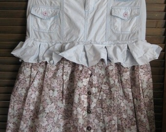Boho Powder Blue and Floral Dusty Rose Skirt