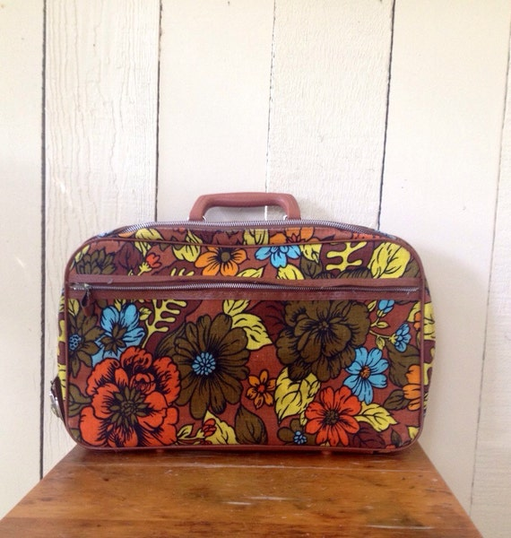 Retro Floral Suitcase or Carry On Bag - Bantam Luggage - 1960s - Made in Japan